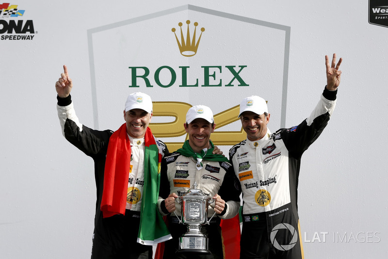 Victory lane, Winners #5 Action Express Racing Cadillac DPi: Joao Barbosa, Filipe Albuquerque, Christian Fittipaldi