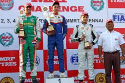 Podium race 2: winner Presley Martono, second place Rinus Van Kalmthout, third place Danial Frost