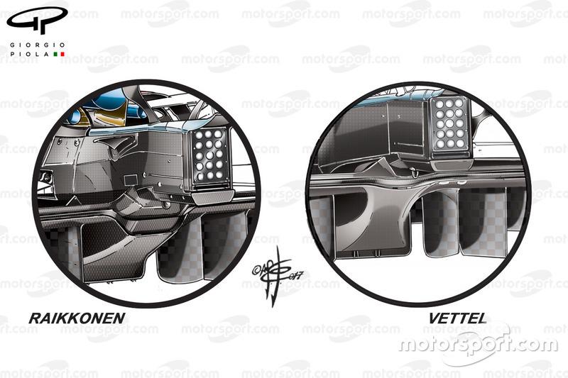 Ferrari SF70H: Diffusor, Vergleich