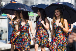 Grid girls shelter from the sun with umbrellas