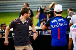 Romain Grosjean, Haas F1 Team, and Pierre Gasly, Toro Rosso, in the drivers parade
