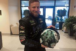 Jeffrey Earnhardt, StarCom Racing Chevrolet with his helmet