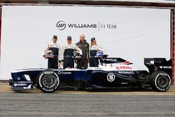 Valtteri Bottas, Pastor Maldonado, Susie Wolff, Development Driver, Williams F1, pose with the new Williams FW35