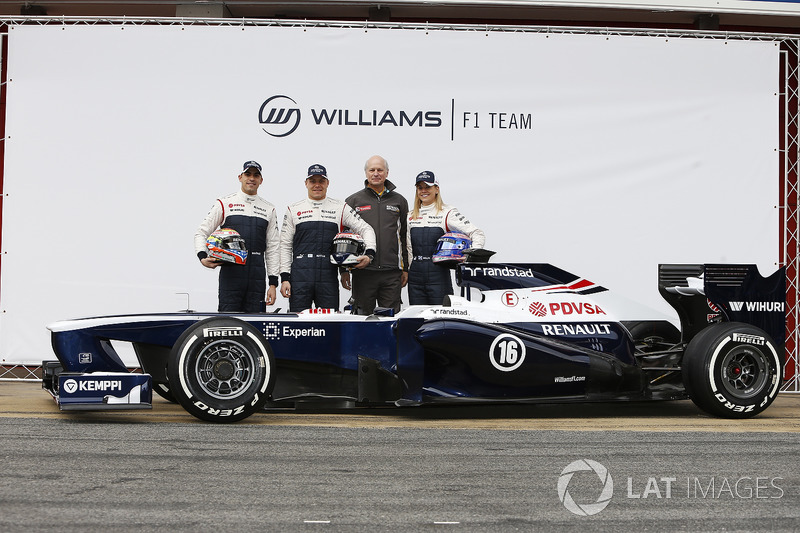 Valtteri Bottas, Pastor Maldonado, Susie Wolff, Development Driver, Williams F1, pose with the new W