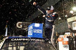 Johnny Sauter, GMS Racing, Allegiant Airlines Chevrolet Silverado, celebrates in victory lane