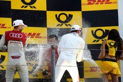 Podium: winnaar René Rast, Audi Sport Team Rosberg, nummer drie Paul Di Resta, Mercedes-AMG Team HWA
