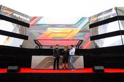Stoffel Vandoorne, McLaren, and Fernando Alonso, McLaren, are interviewed on stage