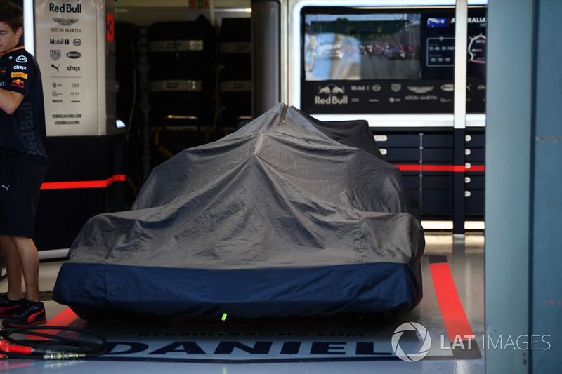 Red Bull Racing RB14 in the garage under covers