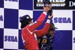 Race winner Ayrton Senna, McLaren, second place Damon Hill, Williams