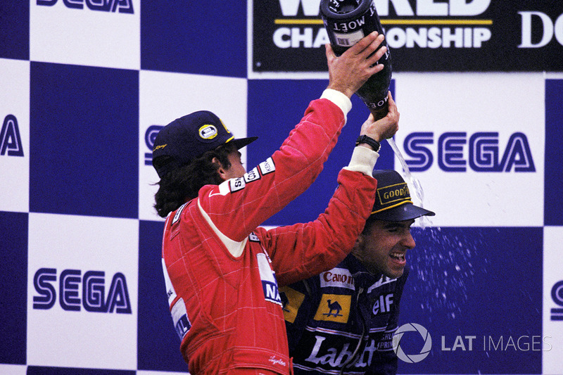 Race winner Ayrton Senna, McLaren, second place Damon Hill, Williams
