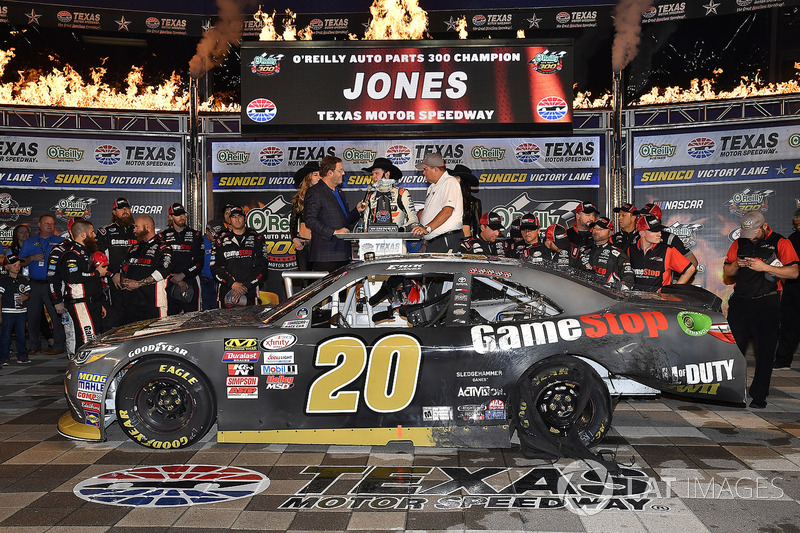 Race winner Erik Jones, Joe Gibbs Racing Toyota