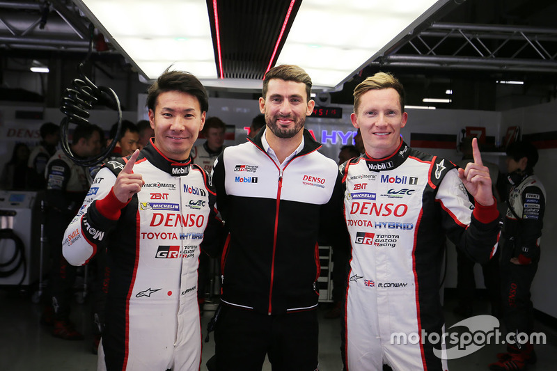 Pole sitters Mike Conway, Kamui Kobayashi, Jose Maria Lopez, Toyota Gazoo Racing