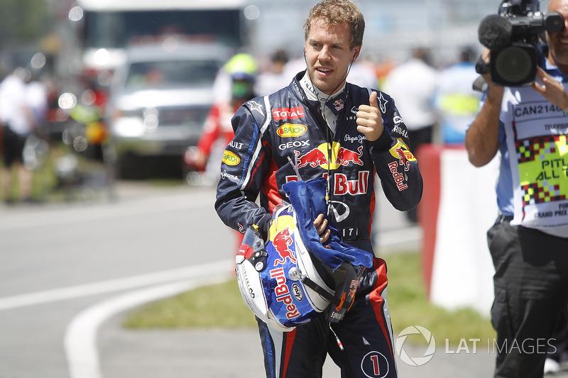 Sebastian Vettel, Red Bull Racing, viert zijn pole