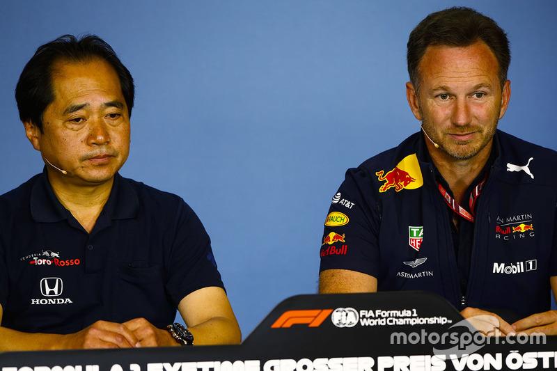 Toyoharu Tanabe, Honda F1 y Christian Horner, Team Principal, Red Bull Racing