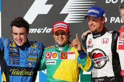 Podium: second place Fernando Alonso, Renault F1 Team, Race winner Felipe Massa, Ferrari, third plac