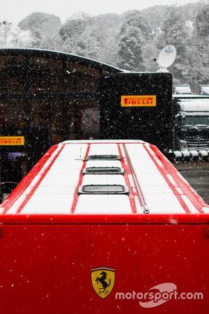 Sneeuw op het circuit van Barcelona