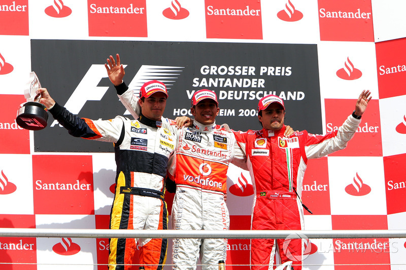 2008: Race winner Lewis Hamilton, McLaren; second place Nelson Piquet Jr.; third place Felipe Massa, Ferrari