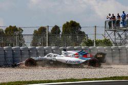Lance Stroll, Williams FW41 crash