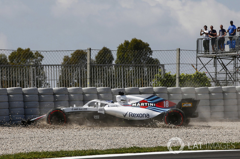 Lance Stroll, Williams FW41 masuk ke jebakan kerikil