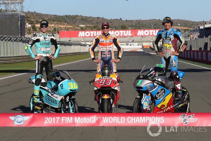 Le Champion Moto3 Joan Mir, Leopard Racing, le Champion MotoGP Marc Marquez, Repsol Honda Team, le Champion Moto2, Franco Morbidelli, Marc VDS