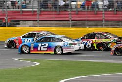 Kyle Busch, Joe Gibbs Racing, Toyota Camry M&M's Red White & Blue, Ryan Blaney, Team Penske, Ford Fusion PPG, and Martin Truex Jr., Furniture Row Racing, Toyota Camry Bass Pro Shops/5-hour ENERGY