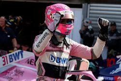 Esteban Ocon, Force India F1 celebrates in parc ferme