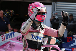 Esteban Ocon, Force India F1 celebrates in parc ferme