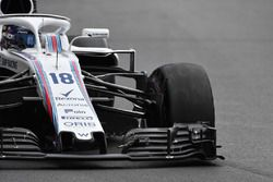 Lance Stroll, Williams FW41 with front puncture on lap one