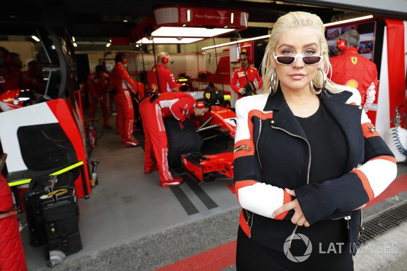 Singer Christina Aguilera visits the Ferrari garage