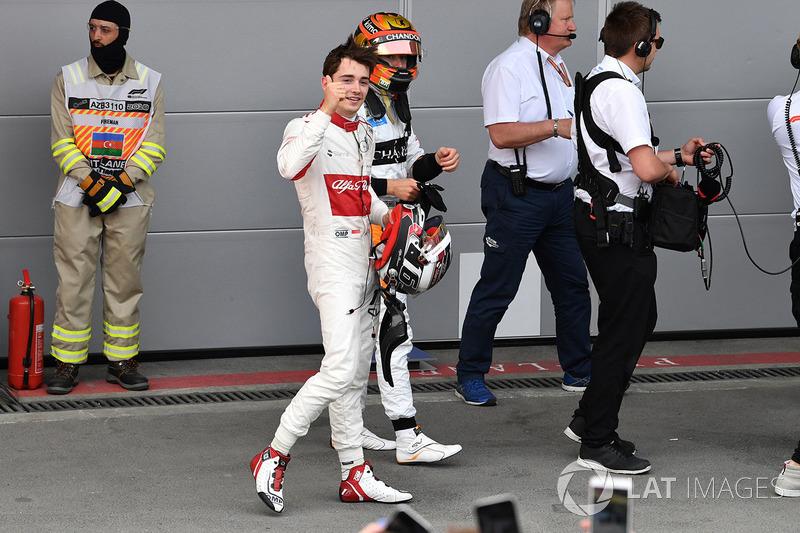 Charles Leclerc, Sauber festeggia nel parco chiuso