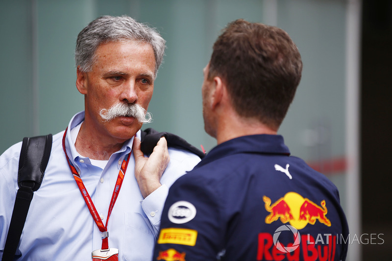 Chase Carey, Chairman, Formula One, talks with Christian Horner, Team Principal, Red Bull Racing