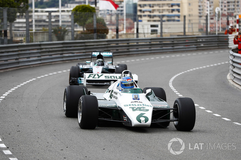 Keke Rosberg is reunited with his 1982 Williams FW08 Cosworth in a demonstration run with son Nico Rosberg, who took the wheel of his 2016 Mercedes W07 Hybrid