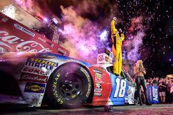 Kyle Busch, Joe Gibbs Racing, Toyota Camry M&M's Red White & Blue, celebrates after winning