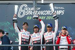 Winners Fernando Alonso, Kazuki Nakajima, Sébastien Buemi, Toyota Gazoo Racing