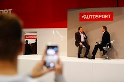 James Sutton films the on the Autosport Stage