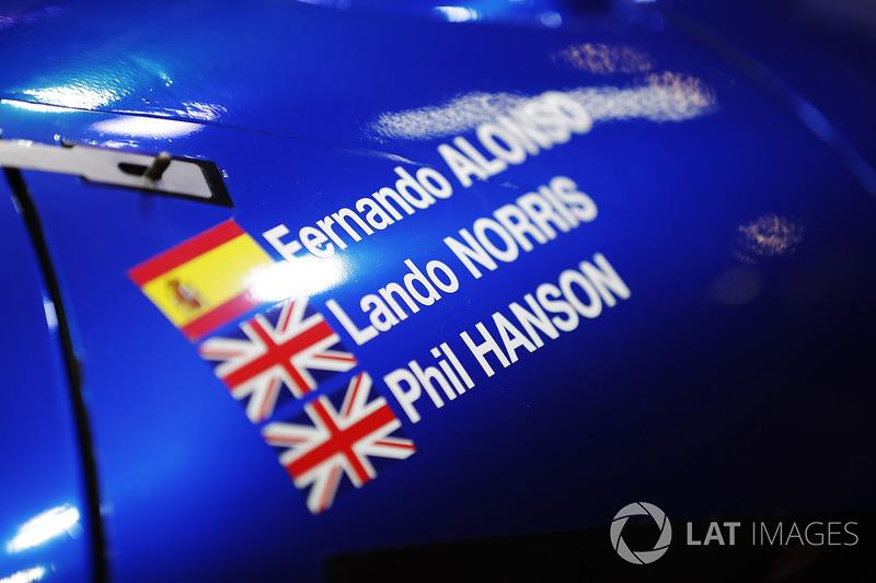 Los nombres de Fernando Alonso, Lando Norris y Phil Hanson en el coche de United Autosports sportscar