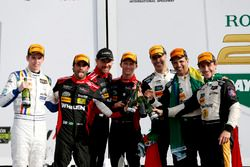Victory lane, #5 Action Express Racing Cadillac DPi: Joao Barbosa, Filipe Albuquerque, Christian Fit