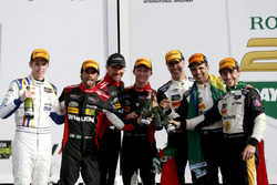 Victory lane, #5 Action Express Racing Cadillac DPi: Joao Barbosa, Filipe Albuquerque, Christian Fit