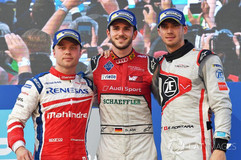 Podio: ganador de la carrera Daniel Abt, Audi Sport ABT Schaeffler, segundo lugar Felix Rosenqvist, Mahindra Racing, tercer puesto Edoardo Mortara, Venturi Fórmula E