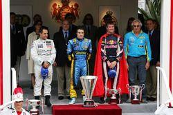 Podium: race winner Fernando Alonso,Renault, second place Juan Pablo Montoya, McLaren, third place D