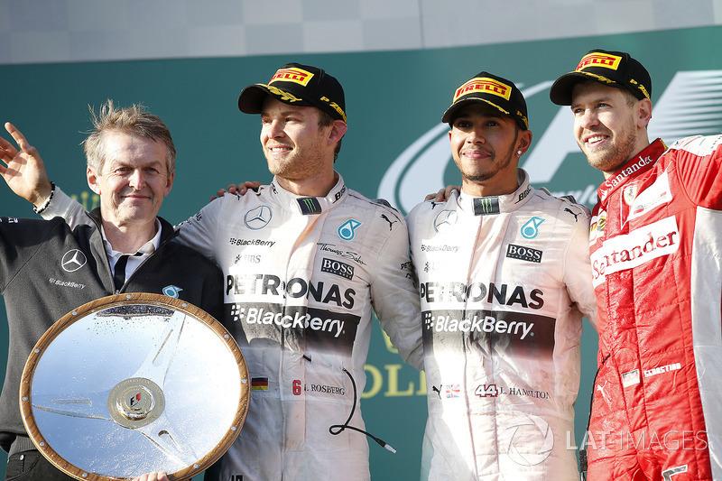 2015: 1. Lewis Hamilton, 2. Nico Rosberg, 3. Sebastian Vettel