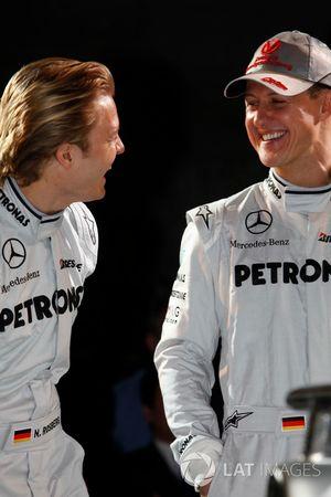 Nico Rosberg, Mercedes GP and team mate Michael Schumacher, Mercedes GP