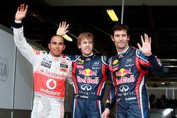 Polesitter Sebastian Vettel, Red Bull Racing, second place Lewis Hamilton, McLaren MP4-26 Mercedes and third placeMark Webber, Red Bull Racing