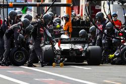 Romain Grosjean, Haas F1 Team VF-18, makes a pit stop