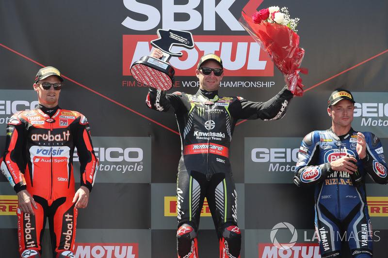 Podio: Jonathan Rea, Kawasaki Racing, Chaz Davies, Aruba.it Racing-Ducati SBK Team, Michael van der Mark, Pata Yamaha