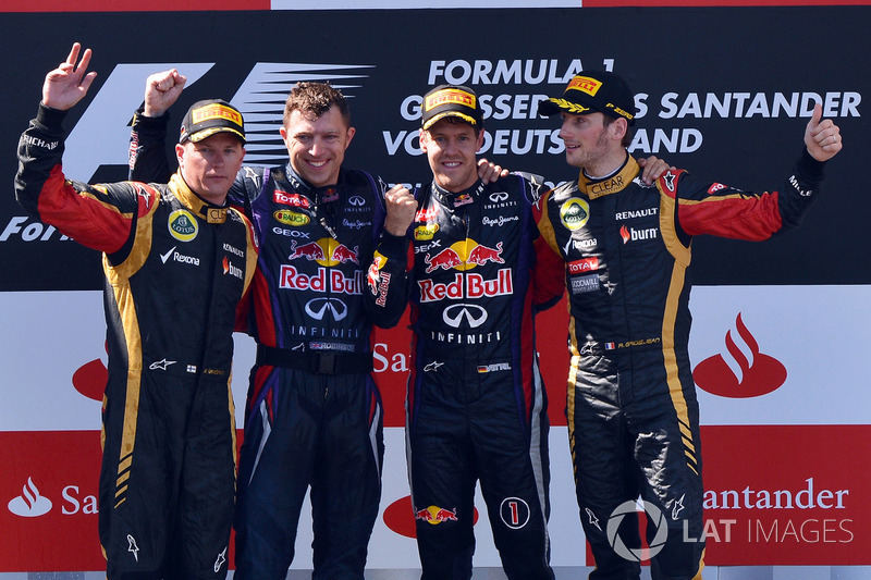 2013: Race winner Sebastian Vettel, Red Bull Racing; second place Kimi Raikkonen, Lotus F1; third place Romain Grosjean, Lotus F1
