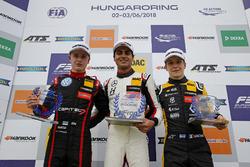 Rookie Podium: Winnner Enaam Ahmed, Hitech Bullfrog GP Dallara F317 - Mercedes-Benz, second place Jüri Vips, Motopark Dallara F317 - Volkswagen, third place Sacha Fenestraz, Carlin Dallara F317 - Volkswagen