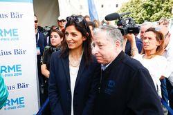 Virginia Elena Raggi, maire de Rome, Jean Todt, président de la FIA, dans la zone mixte