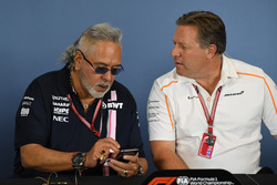 Dr. Vijay Mallya, Force India Formula One Team Owner and Zak Brown, McLaren Racing CEO in the Press Conference