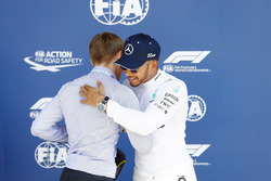 Billy Monger presents pole man Lewis Hamilton, Mercedes AMG F1, with the Pirelli Pole Position Award
